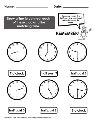 Matching Time Worksheet  Free Printable Worksheets
