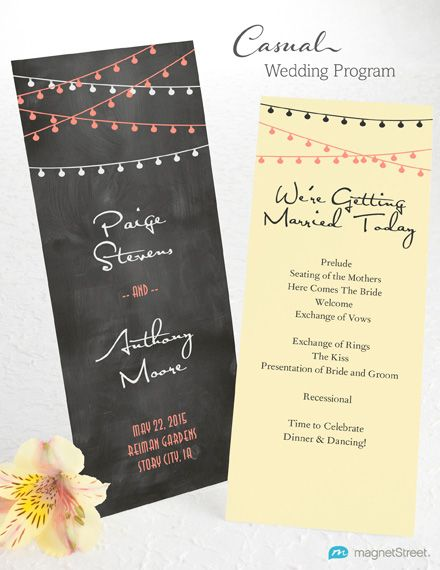 Informal Wedding Program Wording