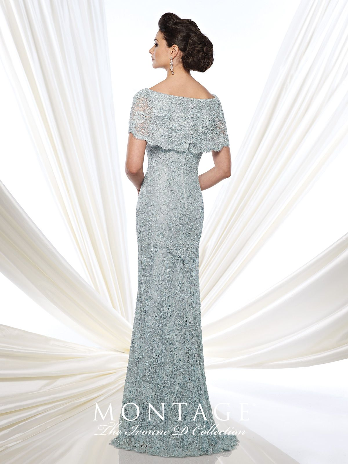Lace Fit and Flare Gown With Short Sleeves - Ivonne D 215D03