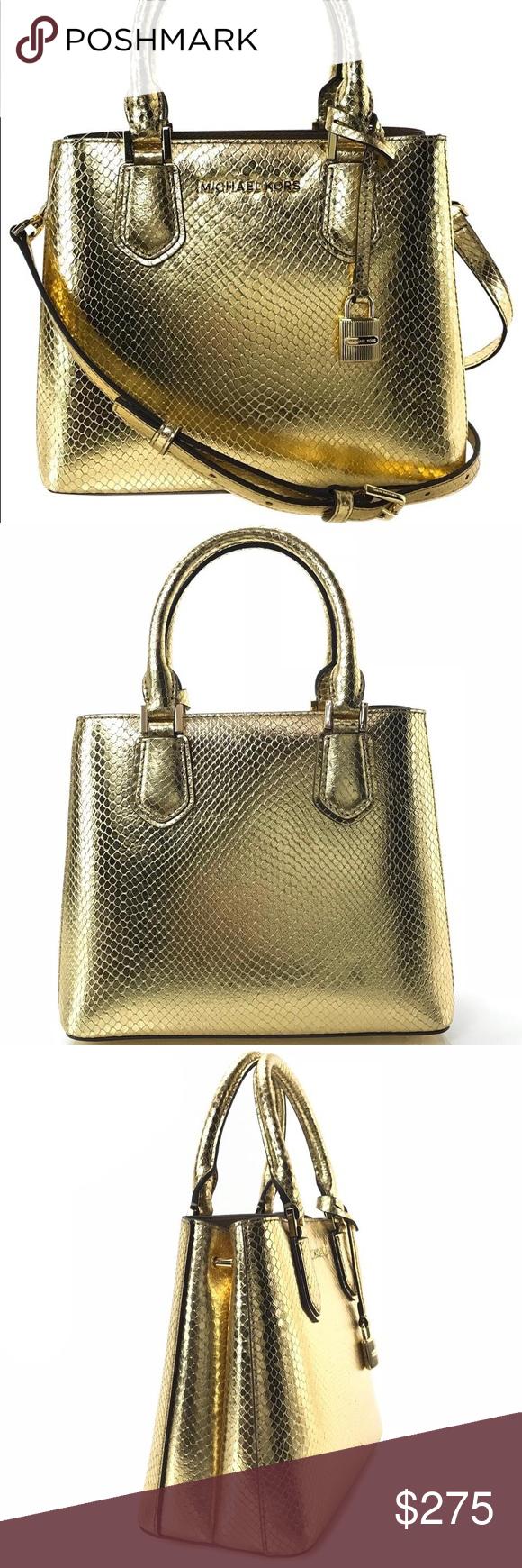 3342f77e7f92 Michael Kors purse Michael Kors NWT Adele Medium Shoulder Gold Embossed  Leather Messenger Bag Model