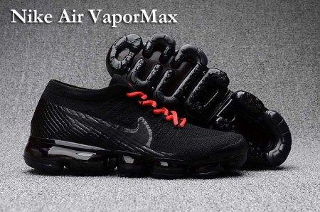 Hot New Nike Air Vapormax Flyknit Chaussures  Homme Air Max 2018 Noir Rouge