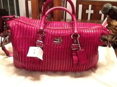 Nwt Coach Madison Juliette Gathered Satchel Handbag Magenta