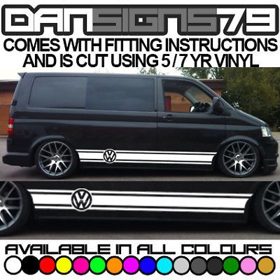9a1cbc052c0a69 Vw Transporter T25 T4 T5 T6 Side Stripes Graphics Decals Sticker Kit Both  Sides
