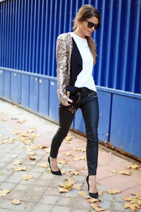 Ring In the New Year With These 20 Festive Outfits  Glamour.com Sequined  Blazer + T-Shirt + Leather Pants + Classic Pumps ce2d1d691