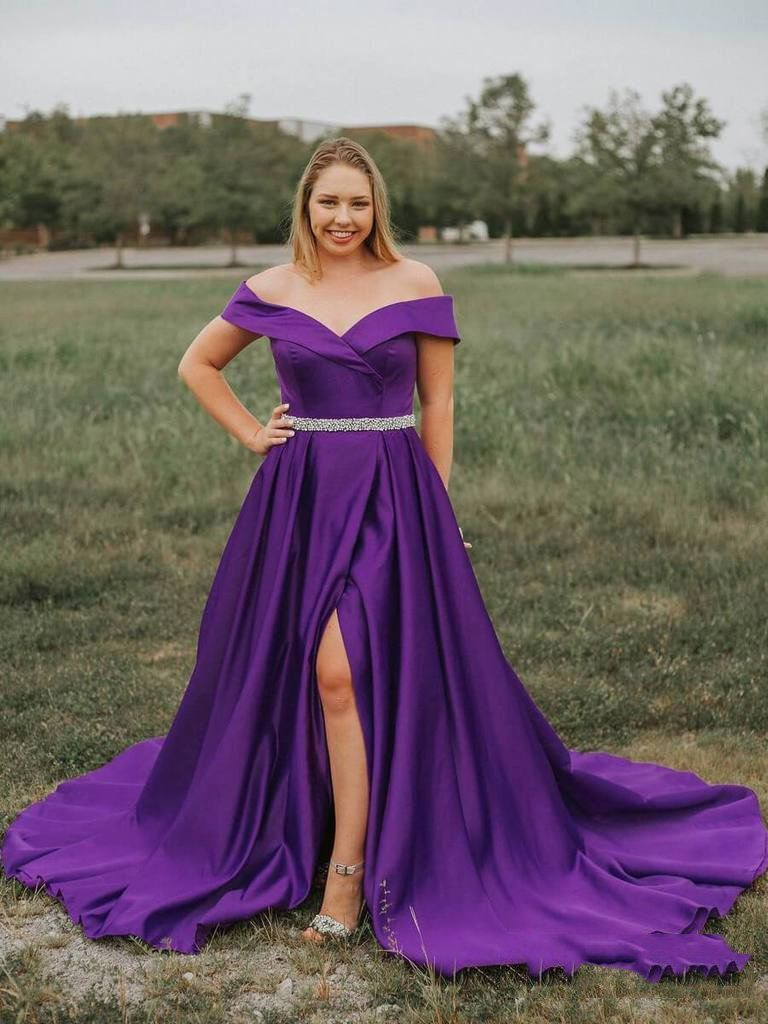2021 Violet A Line Off The Shoulder Sweetheart Split Front Beaded Plus Size Satin Prom Dresses Purple Us In 2021 Purple Prom Dress Satin Prom Dress Boho Prom Dress [ 1024 x 768 Pixel ]