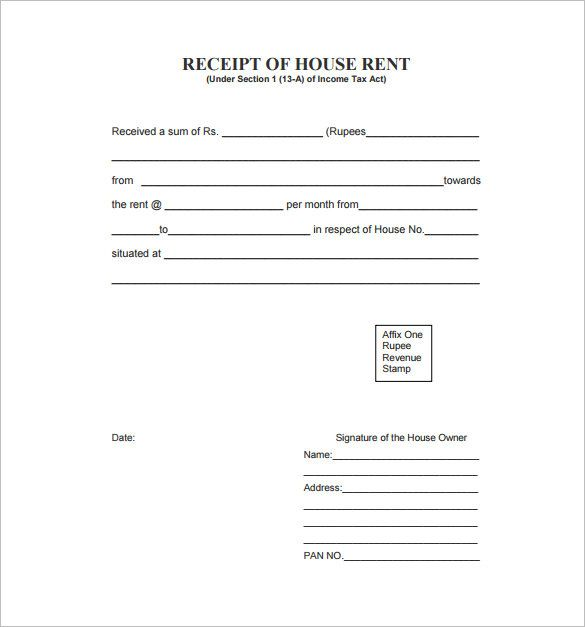 Receipt Format , Receipt Template Doc for Word Documents in - house rental receipt template