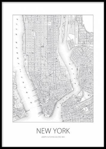 new york karta tavla Svartvit poster / affisch med New york karta. Tavla med New York  new york karta tavla