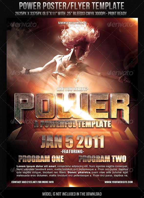 power poster flyer template clubs parties events church