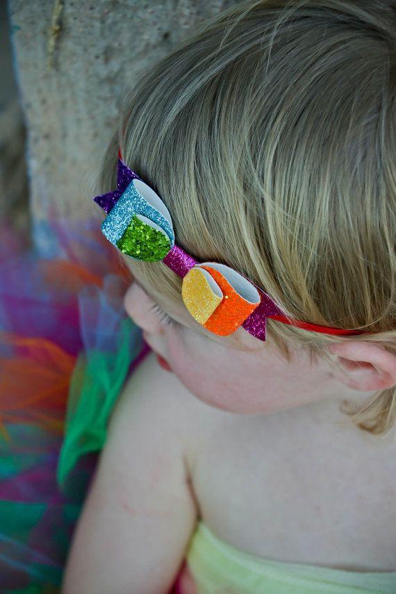 Rainbow glitter bow newborn/baby/toddler headband Rainbow ...