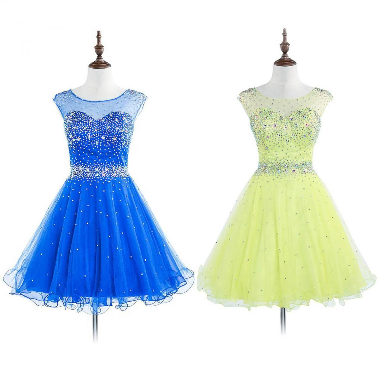 Royal blue open back prom dresses with sparkle beads illusion mini