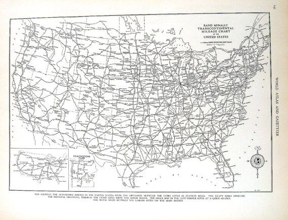 Mileage Chart USA 1937 Vintage Map from World Atlas | Map ...