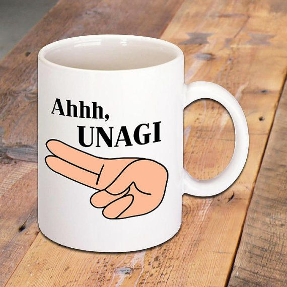 Ahhh, UNAGI, Quote Mug made famous by Friends TV Show, Funny Quotes, TV Quotes, Ceramic Coffee Mug, Hot Drinks, Morning from Badass Screen Designs.