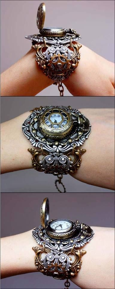 Steampunk Wristwatch. Large filigree bangle/cuff with a pocket watch. Now how would one connect the two? #provestra