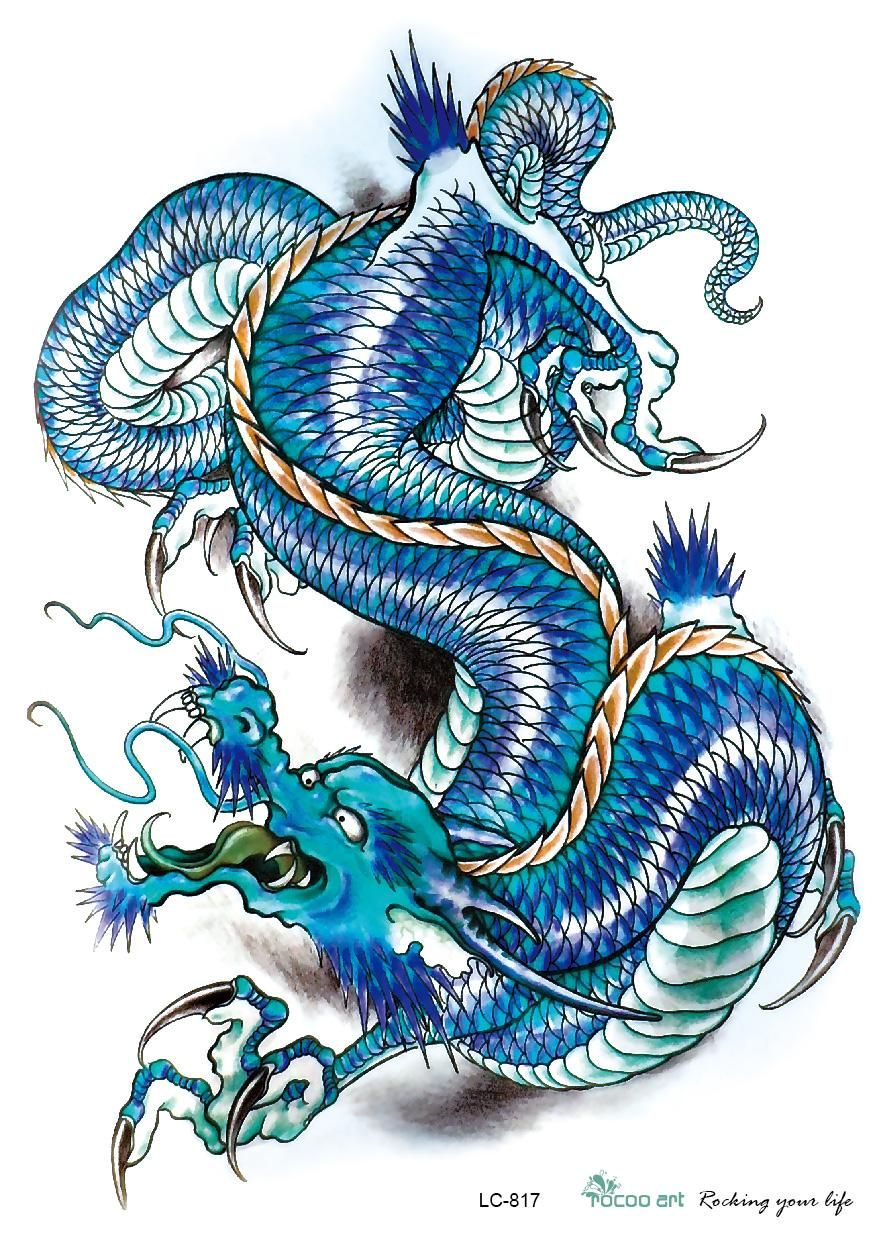lc2817 21 15cm 3d large big tatoo sticker sketch blue chinese dragon painting designs cool. Black Bedroom Furniture Sets. Home Design Ideas