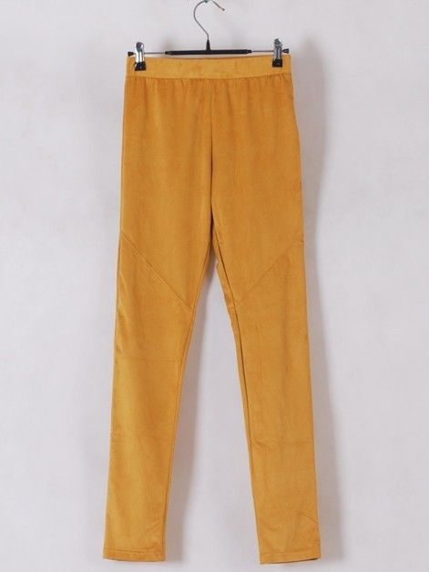Women Euro Style Slim Candy Color Yellow Pencil Pants Faux Suede One Size@WH0116y