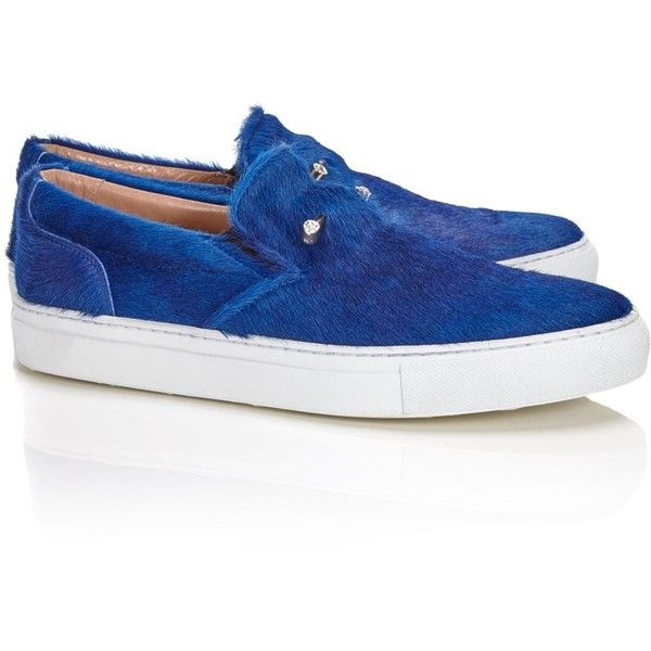 Coliac Blue Crystal Pony Hair Sneakers (£290) ❤ liked on Polyvore