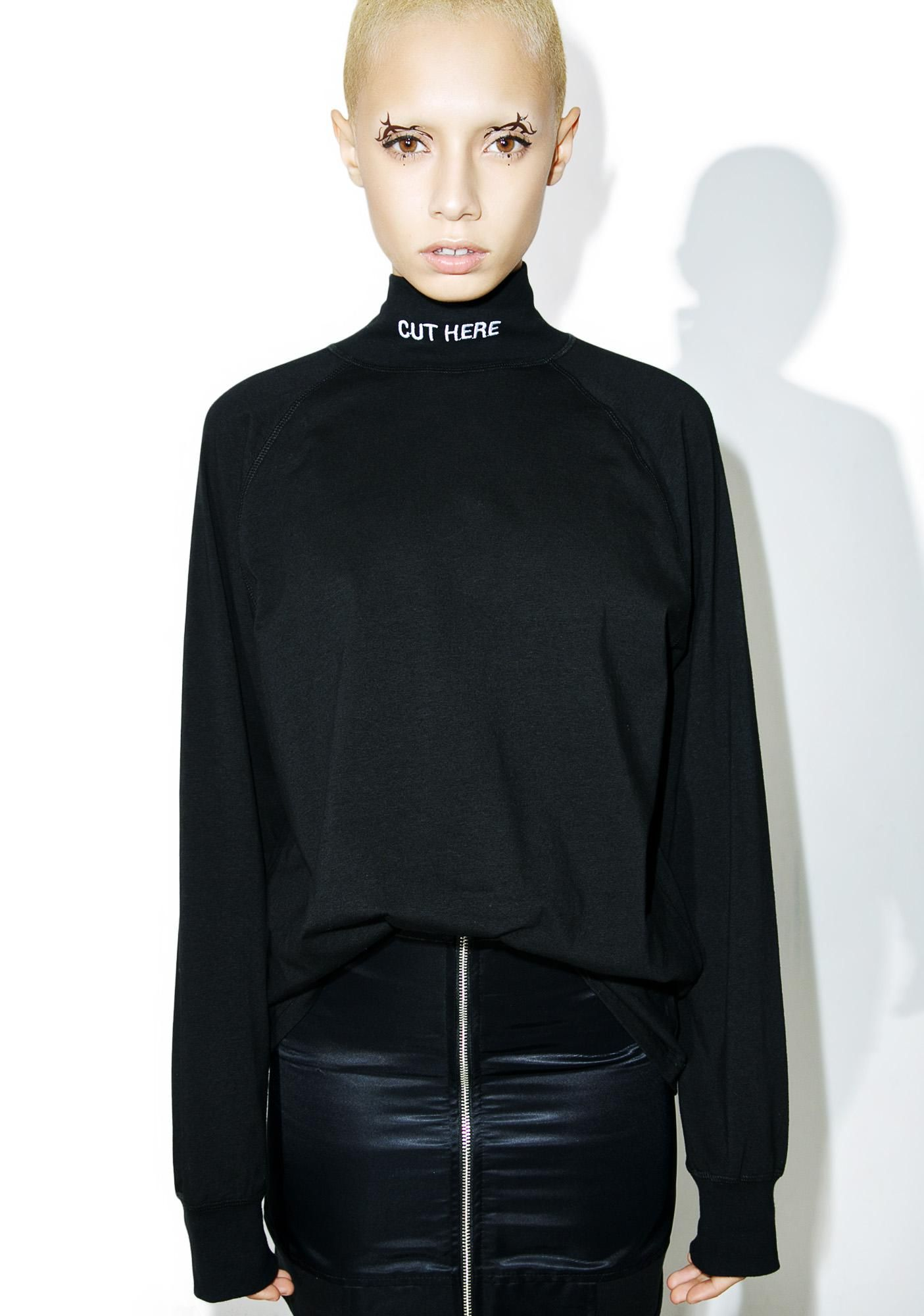 Leather jacket aesthetic - Cut Here Mock Turtleneck