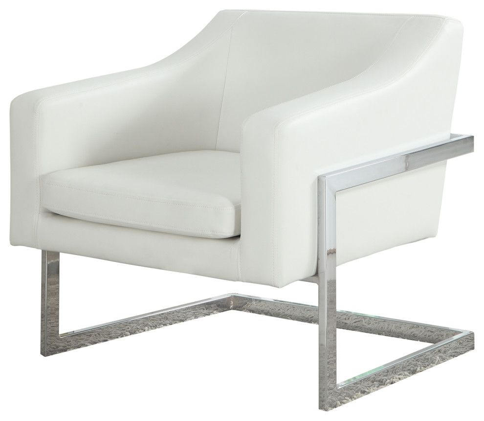 Norway Modern Living Room Chrome Faux Leather Accent Chair In White Best Master Furniture 3016w In 2020 Modern Armchair Best Master Furniture Leather Accent Chair