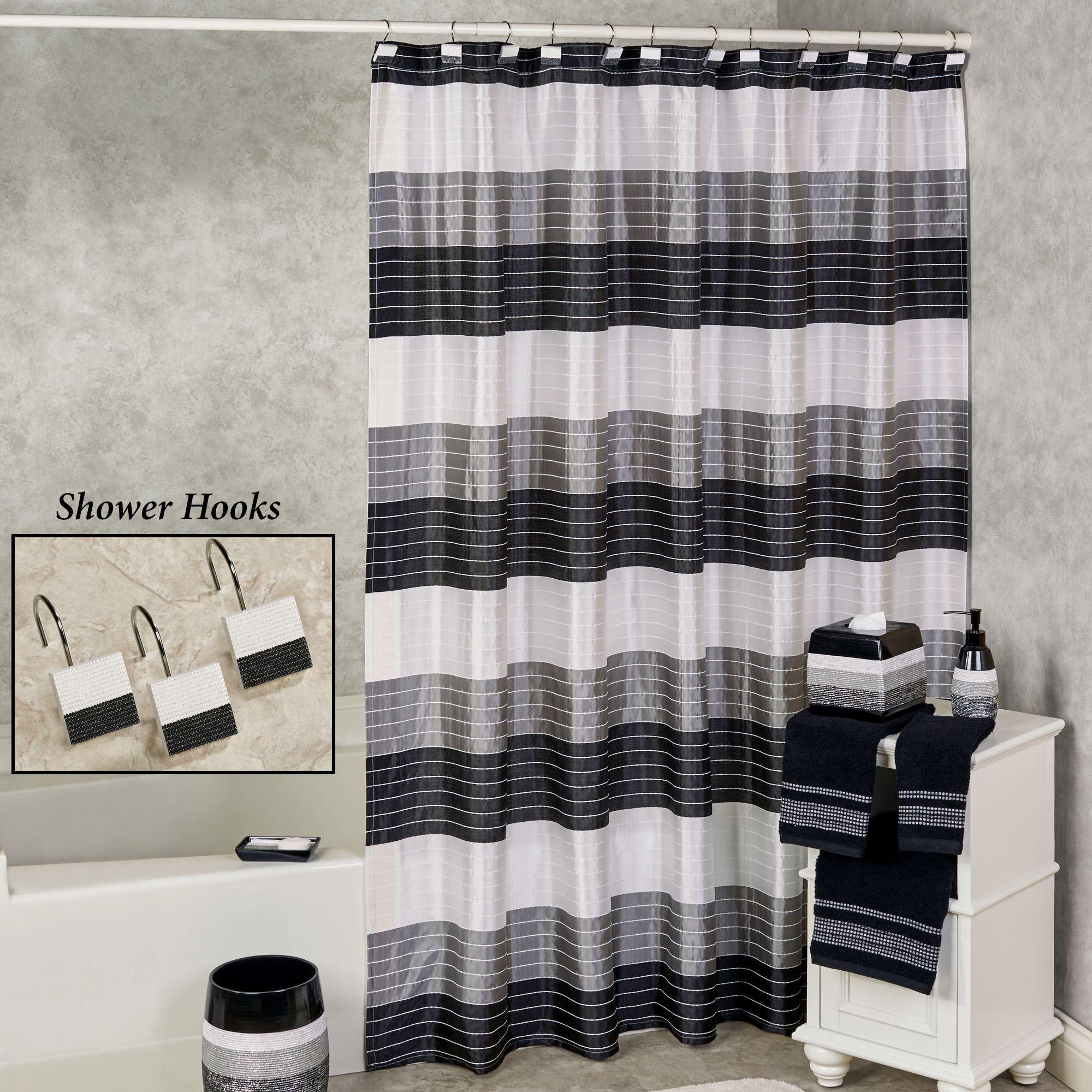 Ambrosi Contemporary Striped Shower Curtain Banos