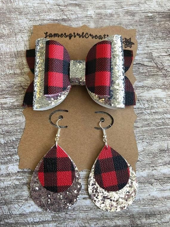 Buffalo Plaid and Silver Glitter Mama & Me Bow and Earring Set - Faux Leather - Handmade - Matching