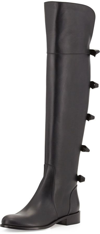 105d209f1730e Valentino Bow-Back Over-the-Knee Boot, Noir on shopstyle.com | Shoes ...