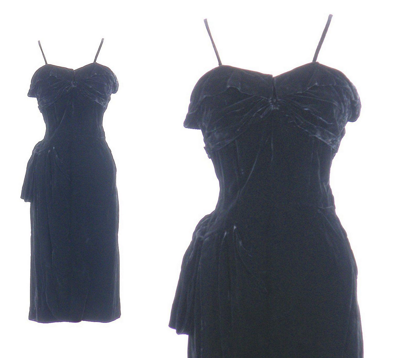 S cocktail dress s black velvet hourglass wiggle dress film
