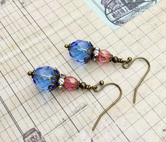 Sapphire Earrings Blue Earrings Pink Earrings by SmockandStone