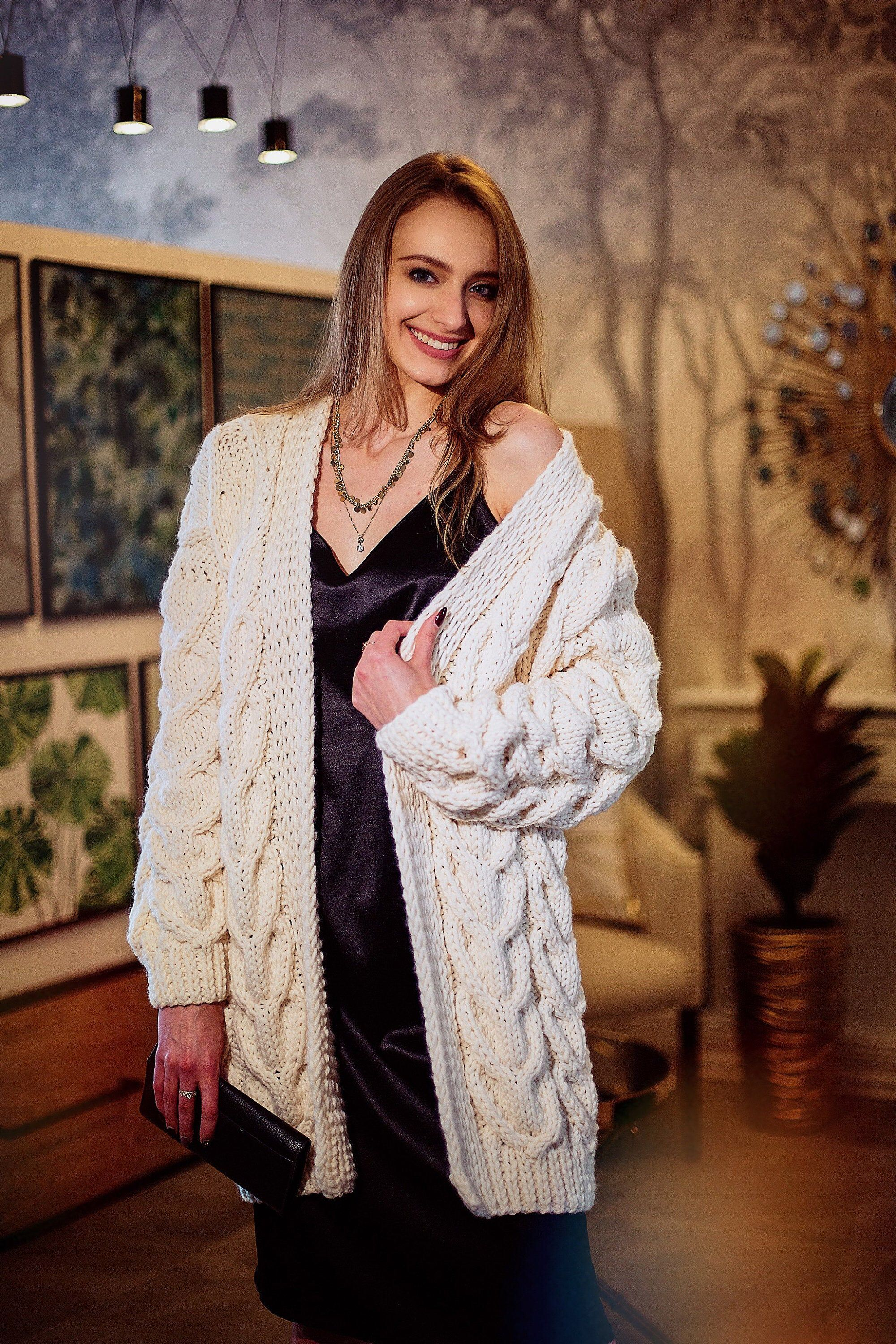 Knitted cardigan Women's cardigan Oversized cardigan Cable