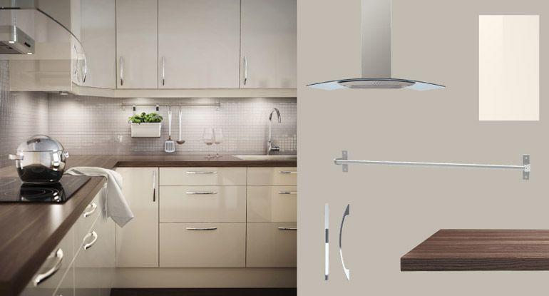 faktum k che mit abstrakt t ren schubladen hochglanz cremefarben und pr gel arbeitsplatte. Black Bedroom Furniture Sets. Home Design Ideas