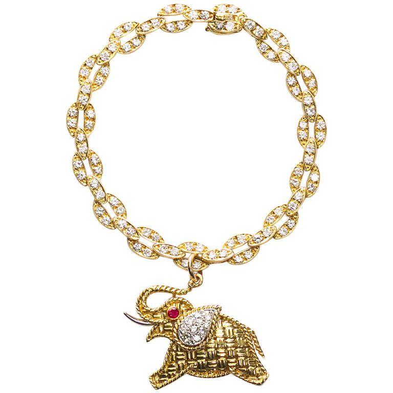 VAN CLEEF  ARPELS 1960s Elephant Charm Bracelet | From a unique collection of vintage charm bracelets at http://www.1stdibs.com/jewelry/bracelets/charm-bracelets/
