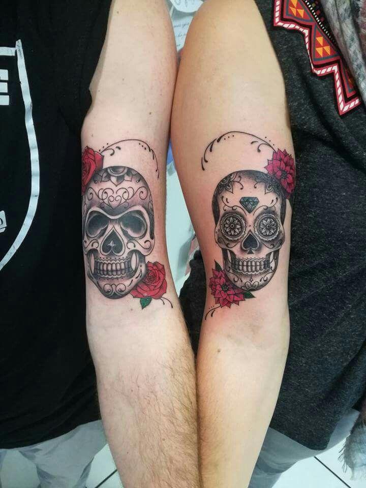 couples skull tattoo tatouages tatouage tatouage. Black Bedroom Furniture Sets. Home Design Ideas