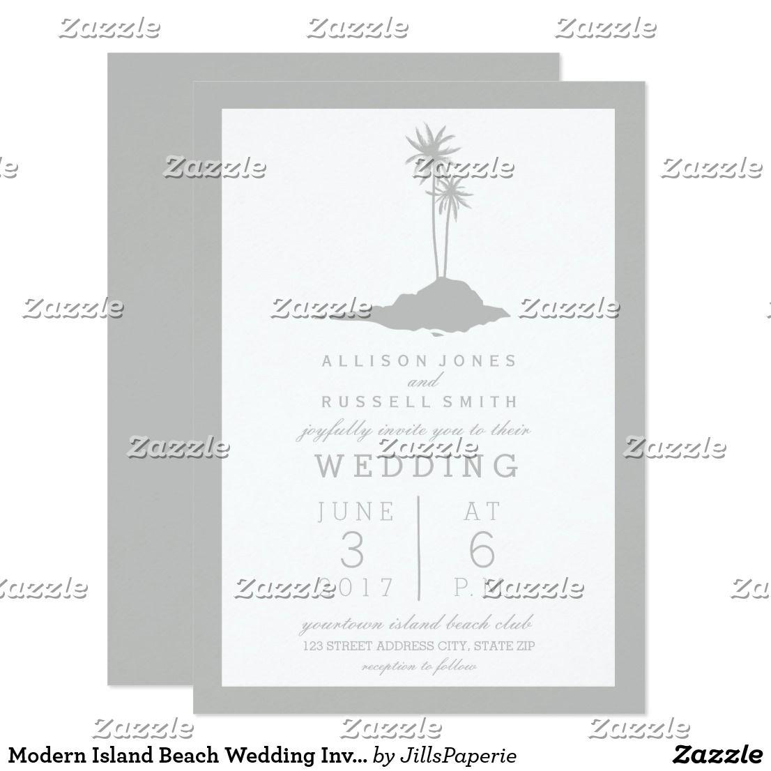Modern Island Beach Wedding Invitation - Gray | Wedding ...