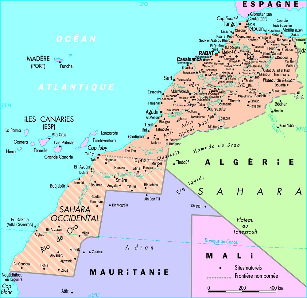 Maroc grande carte du Maroc Espagne Algérie Mali mauritanie Sahara