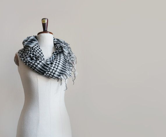 Vintage black & white cotton scarf large keffiyeh with by plot