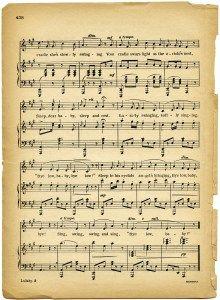lullaby sheet music, vintage lullaby, margaret tuggle, shabby aged paper, free…