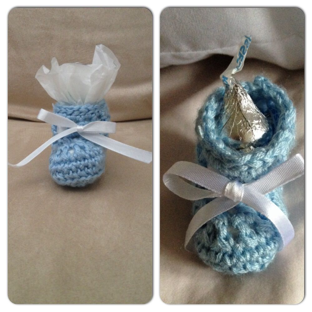 Charming Crochet Booties For Boy Themed Baby Shower.