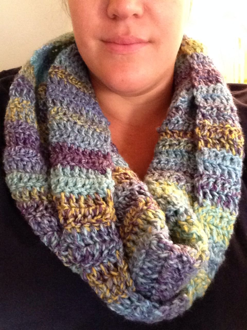 Cowl 12 Wide 42 Inches Long One Twist Single Crochet Together