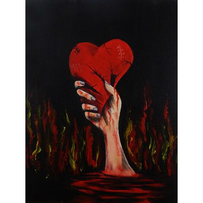 Buyartforless Canvas Love Lost Broken Heart Painting Gallery Wrapped Wall Decor by Ed Capeau 12x16