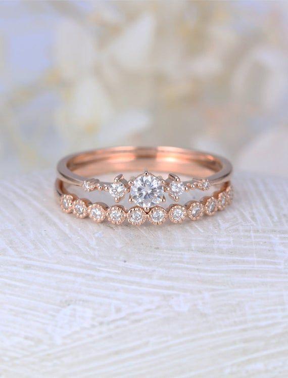 Photo of Moissanite Engagement Ring White Gold Vintage Diamond Wedding Ring Set Dainty Antique Bride Half Eternity Promise Anniversary