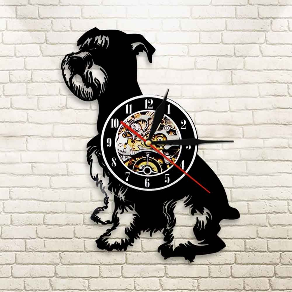 12 Inch Schnauzer Dog Vintage Vinyl Record Wall Clock W Remote In 2020 Silhouette Wall Art Wall Clock Clock