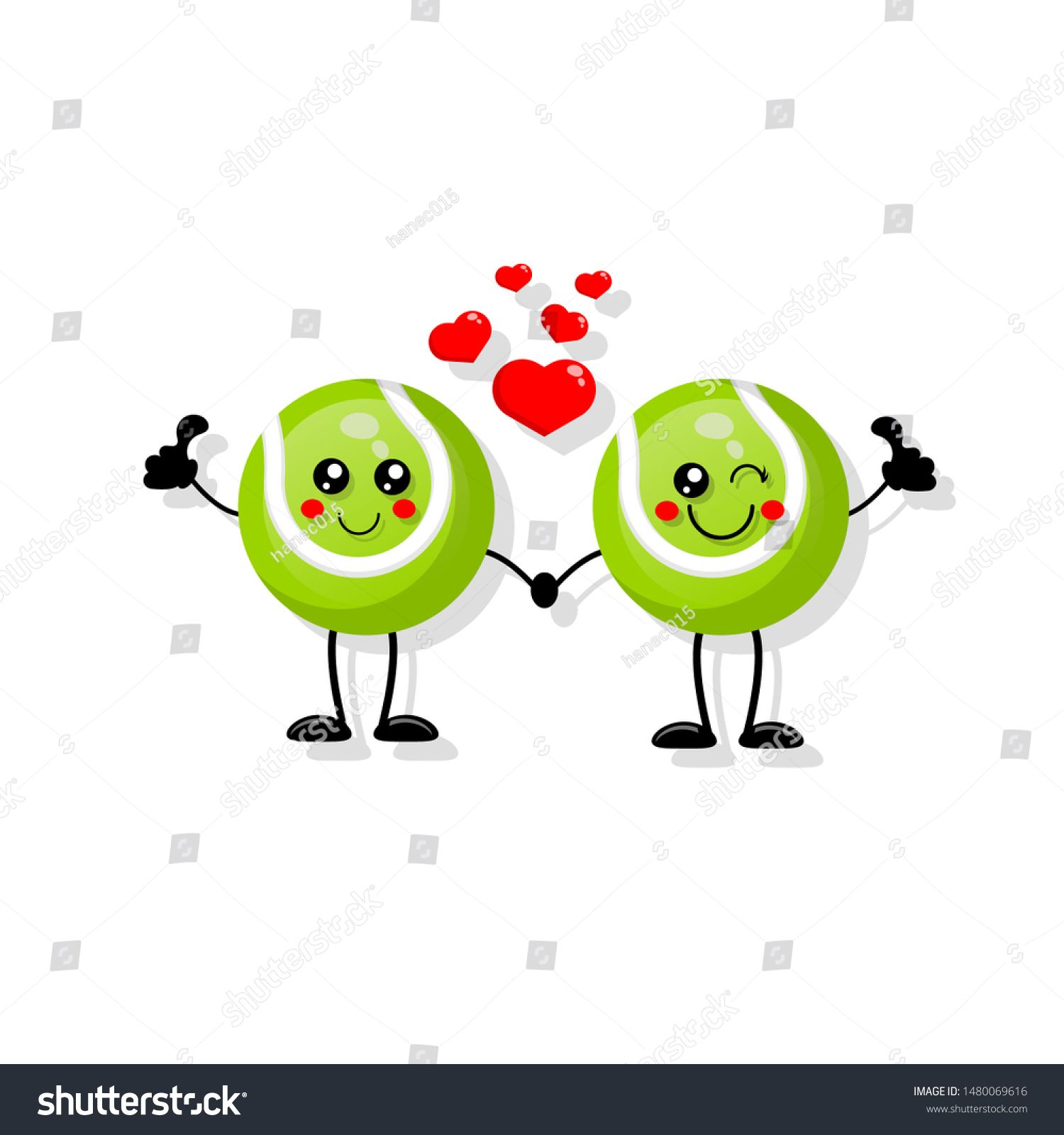 Cute Cartoon Tennis Ball In Love Tennis Ball With Giving Thumb Up Funny Friends Character Concept I Cute Cartoon Graduation Invitations Template Cartoon Kids