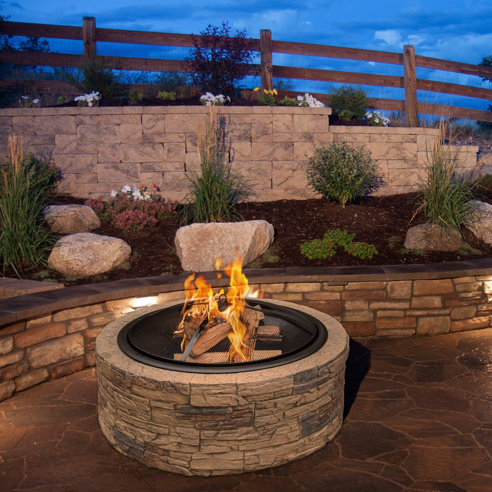 Sun Joe Classic Stone Cast Stone Fire Pit With Dome Screen And Poker Stone Fire Pit Wood Fire Pit Wood Burning Fire Pit