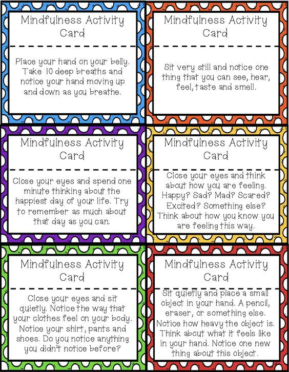 Mindfulness Activity Brain Break Cards For Calm Down