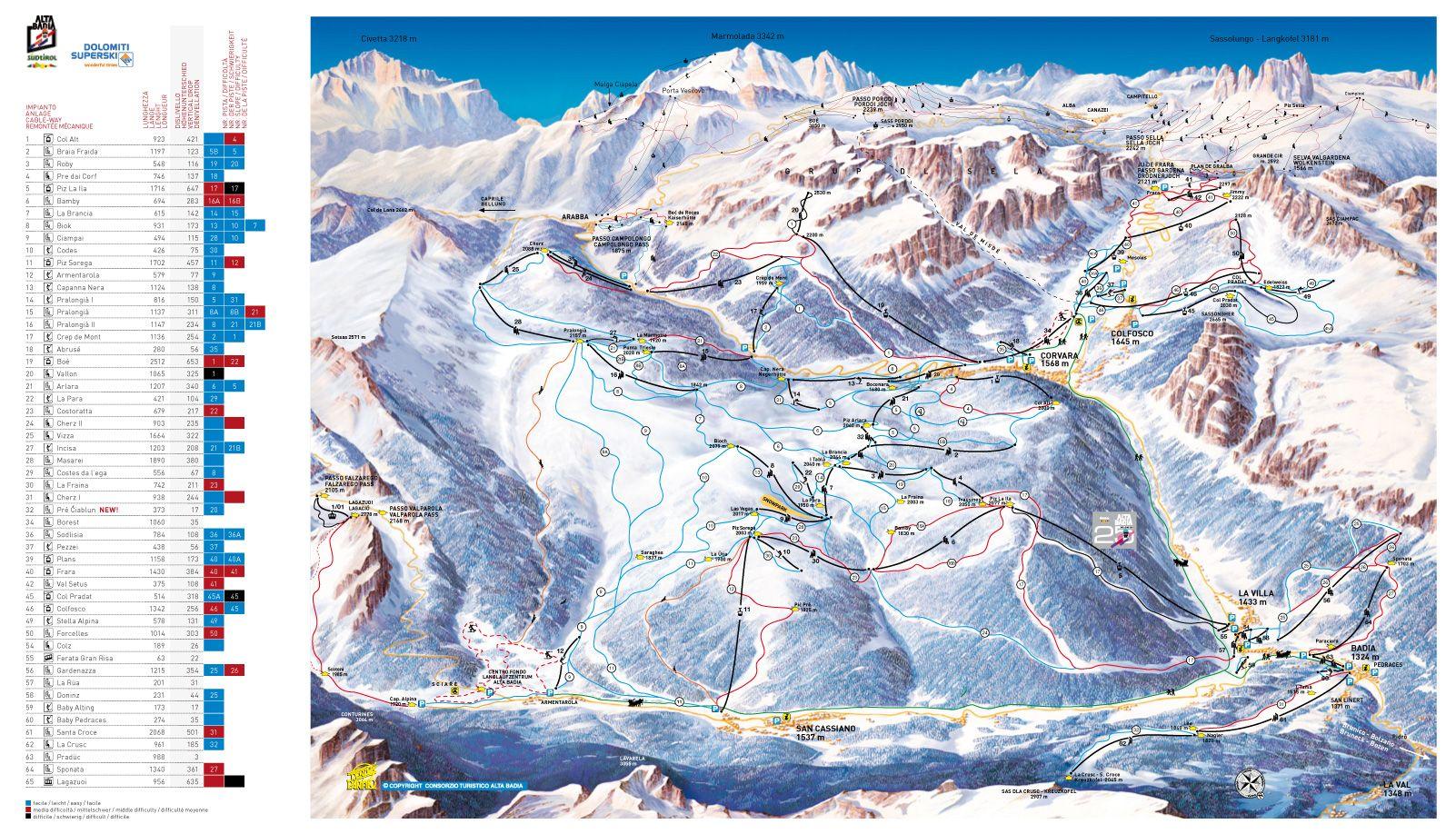 AltaBadiaPisteMap South Tyrol Pinterest South tyrol