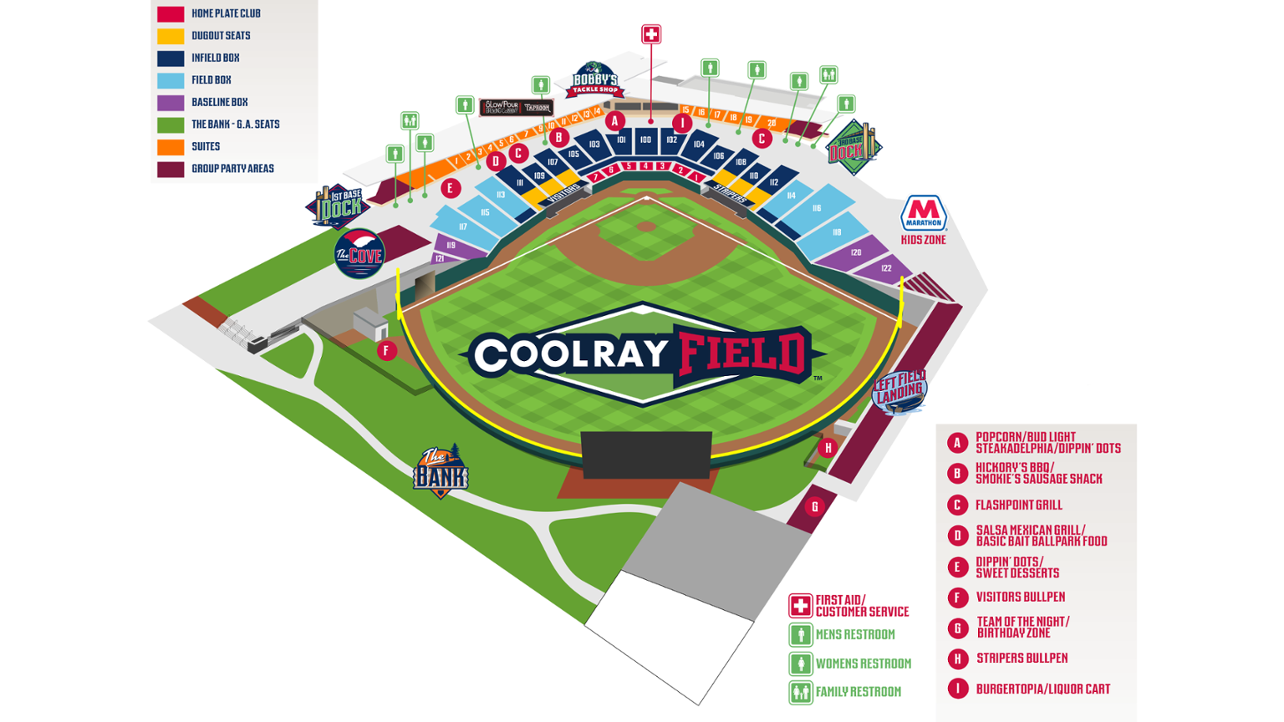Coolray Field Seating Chart Stripers Seating Charts Seating Chart
