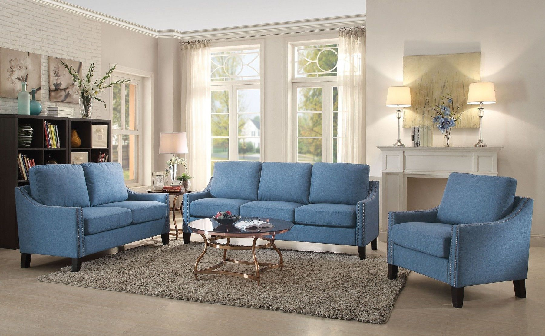 Zapata Blue Sofa In 2020 Sofa Frame Furniture Living Room Sets