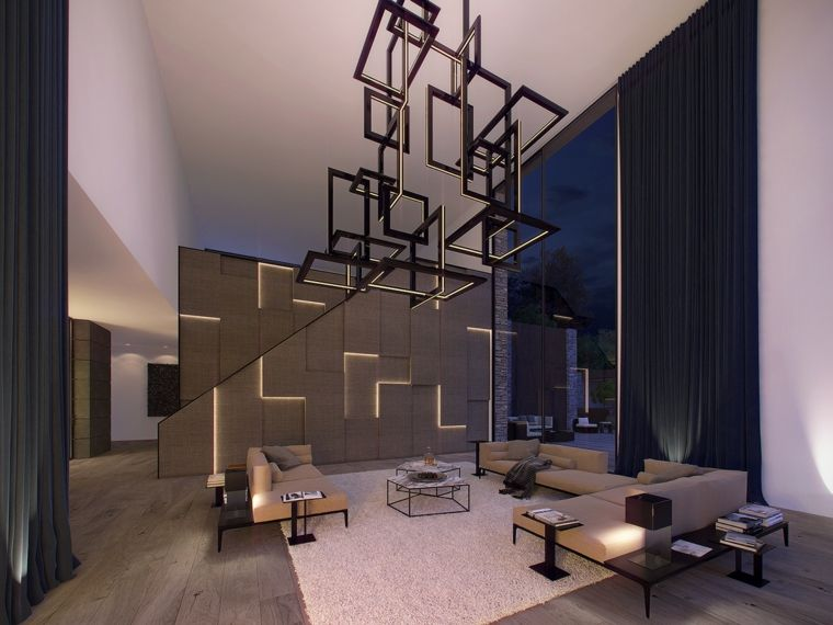 Pareti colorate soggiorno con illuminazione a led divani for Pareti colorate casa moderna