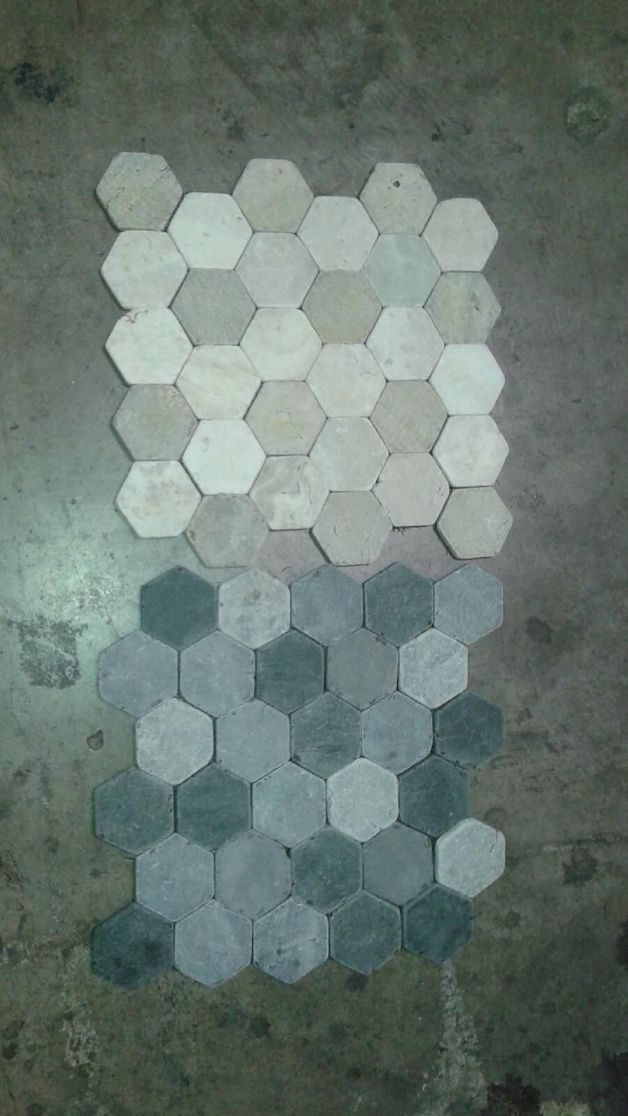 bottom hexagons are what we will have on the floor of the bathroom and shower