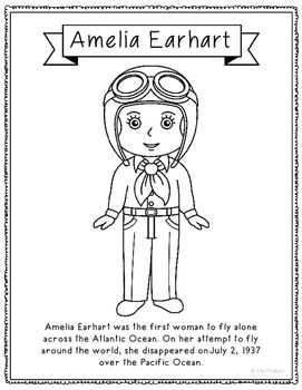 Amelia Earhart Coloring Page Craft Or Poster With Mini Biography