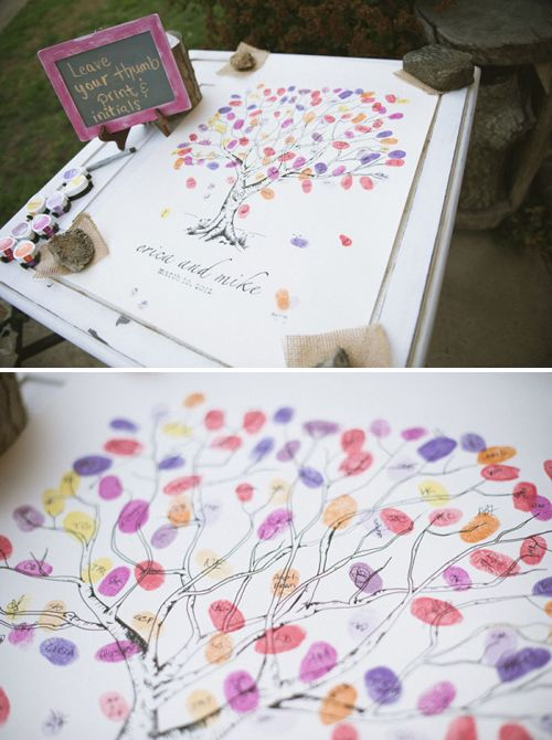 ideas para bodas rbol de huellas dactilares para libro de firmas